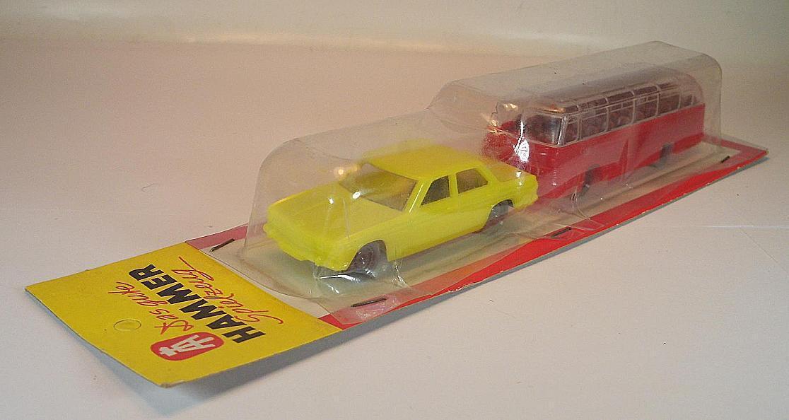 Hammer plastik bmw limousine gelb & mann reisebus verrotten ovp 60er jahre   214