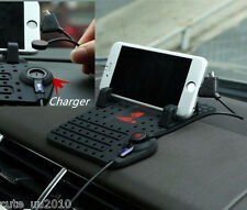 Car Holder Dashboard Stand USB Mount Charger Cradle Non-Slip Pad for Android ISO