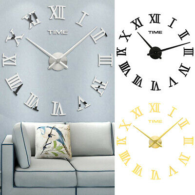 3d Diy Extra Large Roman Numerals, Large Mirror Wall Stickers Uk