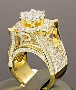 Luxury 18K Gold Plated White Topaz Ring Women Men Wedding Jewelry Ring Sz 6-10