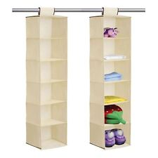 6 section shelves hanging wardrobe shoe garment organiser storage beige wardrobe hanging storage 6 section clothes garment organiser shoe tidy new sisterspd