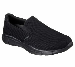 51546-W-Wide-Fit-Nero-Skechers-Scarpa-Uomo-memoria-Foam-Comfort-Slipon-Casual-Sport