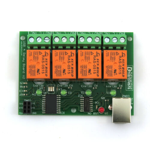 Smart Home 5V USB Relay 4 Channel Programmable Computer Control Board v2