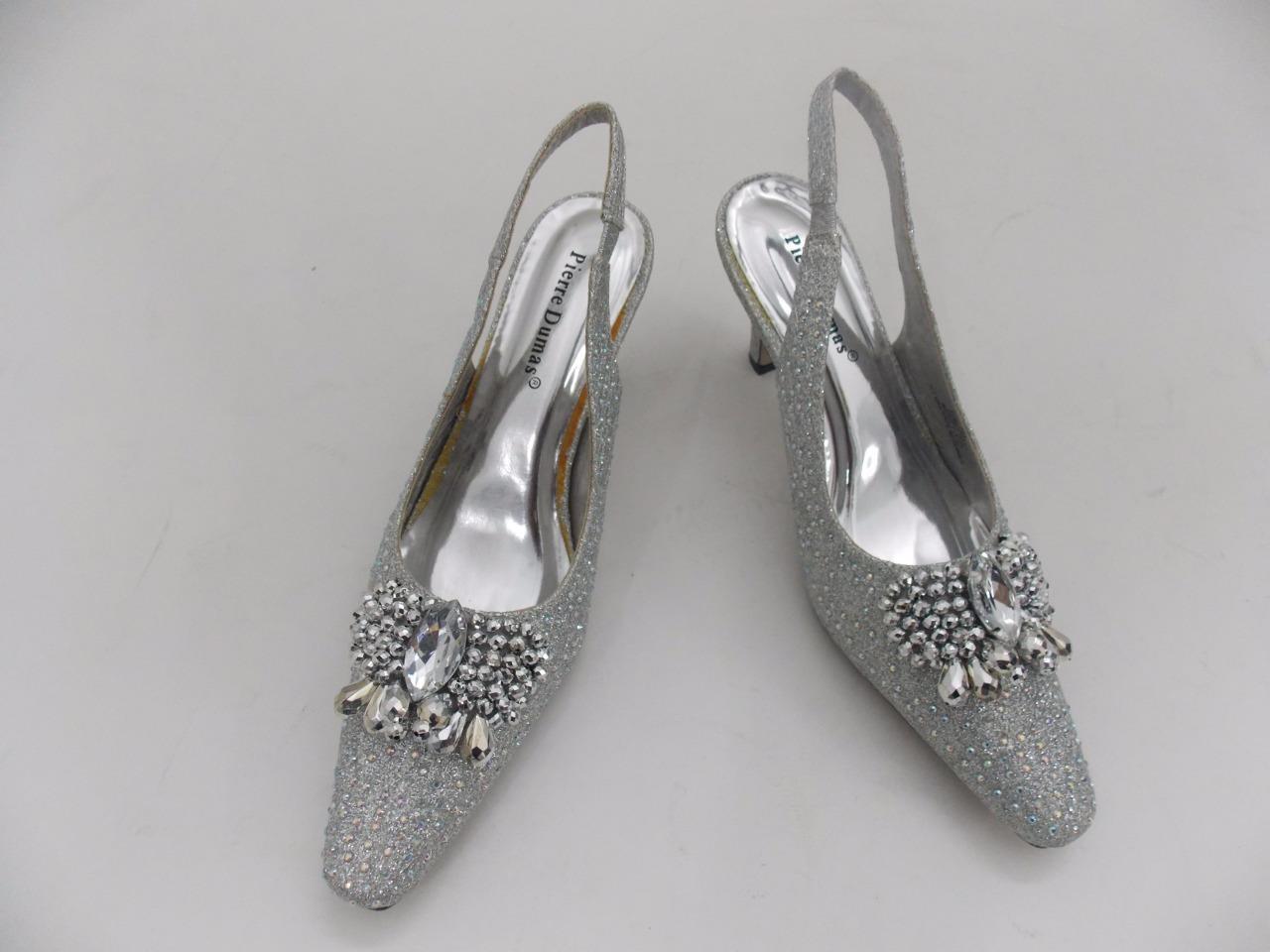 Women's Pierre Dumas Low Heel Church Formal Dress Closed Silver Shoes Renetti 37