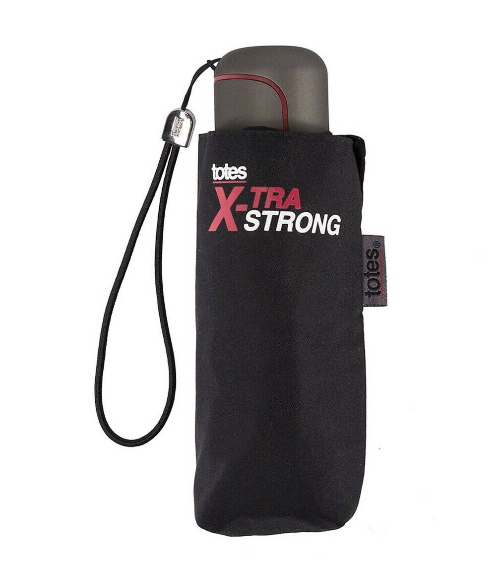 Totes - Black Extra Strong 5 Section Umbrella X-Strong 16.5cm when folded