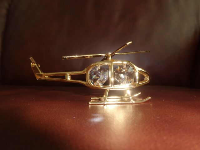 HELICOPTER ~24K GOLD PLATED FIGURINE WITH BEST~*~AUSTRIAN CRYSTALS~*~