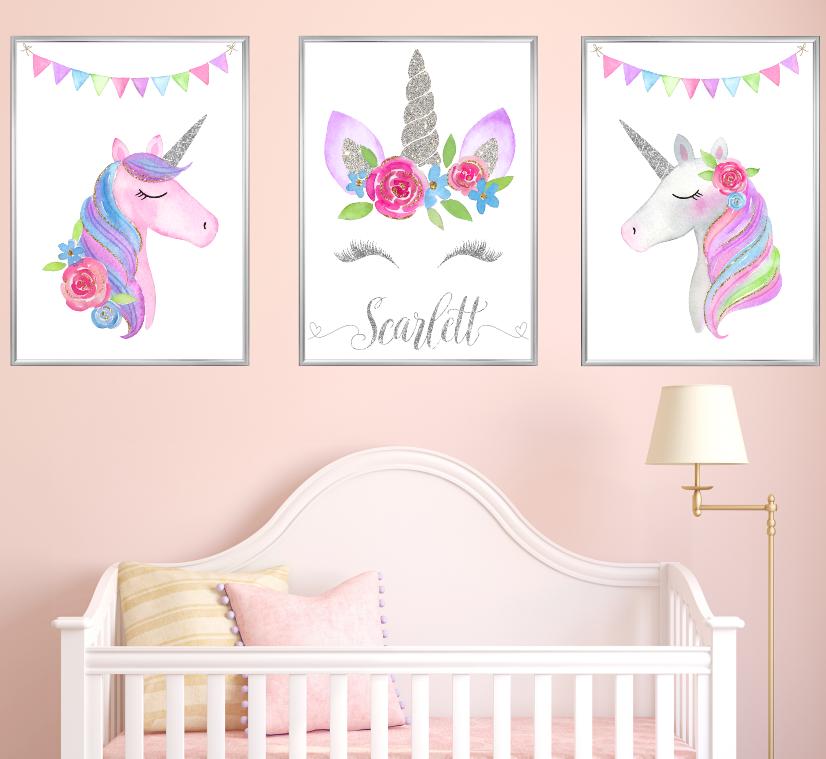Nombre Personalizado De Plata Unicornio Vivero impresiones Set 3 Bebé Habitación Chica Arte Imagen