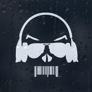 Vinyl Decal Head Barcode Mouth Car Sticker Dj Sunglasses Earphones drBexCo
