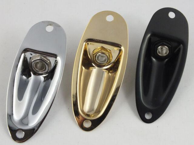 JACK PLATE & SOCKET for STRAT STRATOCASTER Style Guitars - Chrome, Black or Gold