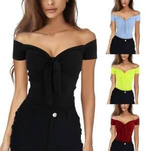 a89dba68cb Summer Women One Off Shoulder Tank Top Vest Blouse Sleeveless Crop ...