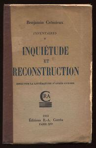 BENJAMIN-CREMIEUX-INQUIETUDE-ET-RECONSTRUCTION-LITTERATURE-D-039-APRES-GUERRE-1931