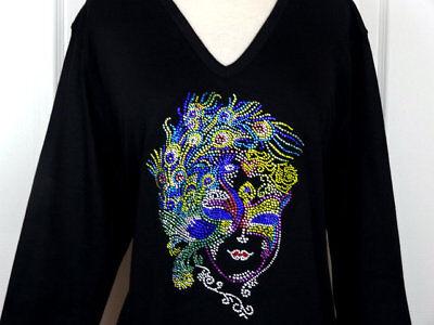 PLUS 3X Top Rhinestone Mardi Gras Themed Jester Fleur Masks Crown 3//4 Sleeve