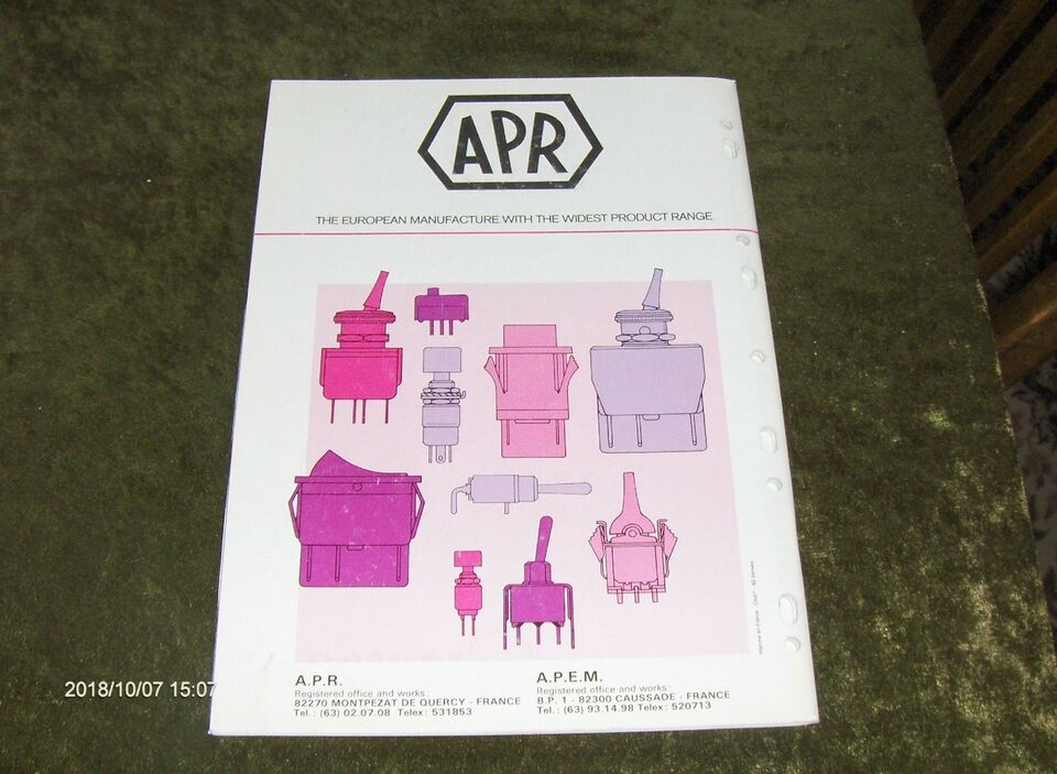 APR - MINIATURE AND INDUSTRIAL SWITCHES 1982, TECH, emne: