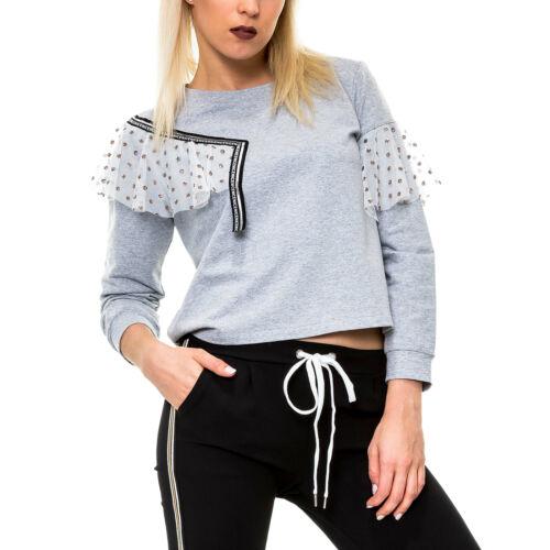 Hachiro Damen Sweatshirt mit Volants Sweater Pullover Langarmshirt Shirt SALE /%