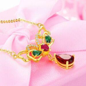 Damen-925-Silber-Halskette-Schmetterling-Wassertropfen-Rubin-Edelstein-Anhaenger
