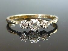Stunning 18ct gold 0.45ct 3 Old cut diamond ring HIGH QUALITY DIAMOND m6