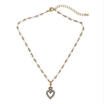 Modern Anthropologie Winter Bailey Medallion Rhinestone Pearl Necklace