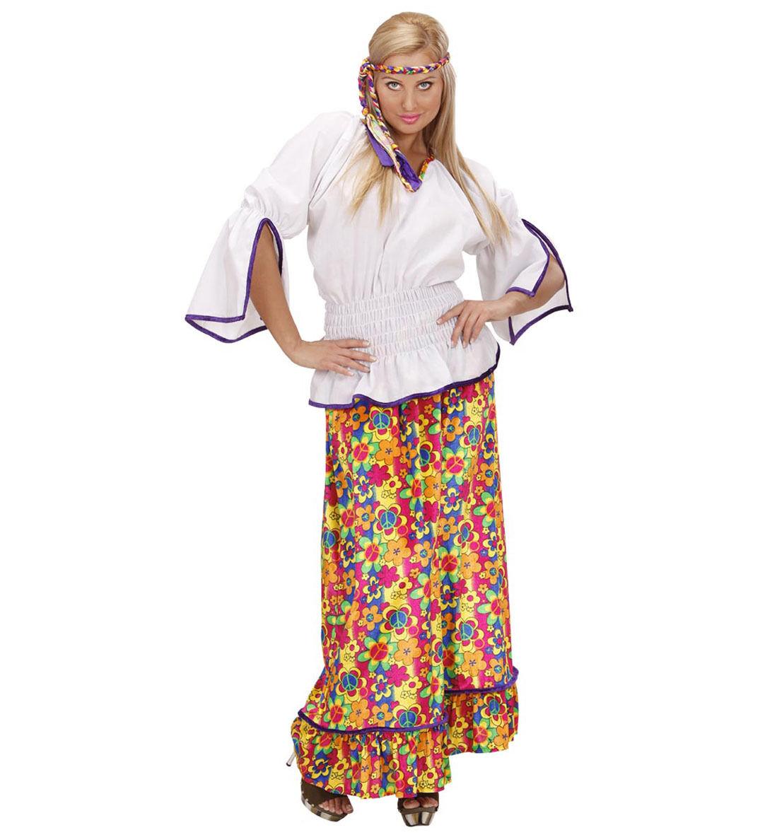 Top Damen Hippie Retro Kostüm 60er 70er Jahre Pop Disco: WIM 73311 Hippie Woman Flower Power 60er 70er Retro