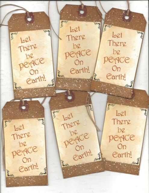 12 PRIMITIVE TAGS~Christmas Primitive!~HANG TAGS~Peace on Earth!