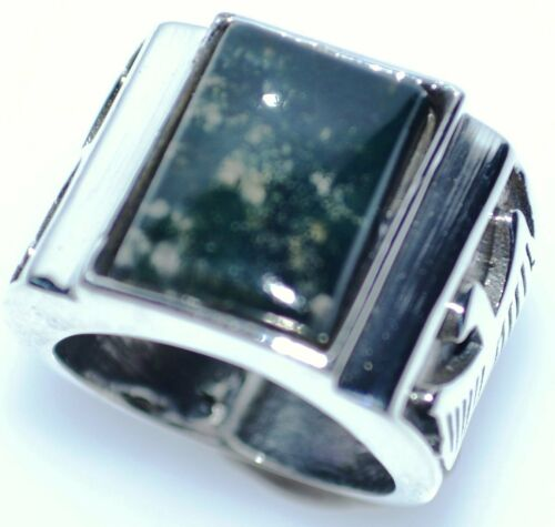 Sterling SILVER Rings Mens Moss Agate 925 Ring NEW Sizes 6 to 15; M to Z+3 NEW
