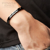 New Titanium Germanium Power Ionics Black Bracelet Wristband Energy PT007 w/ Box