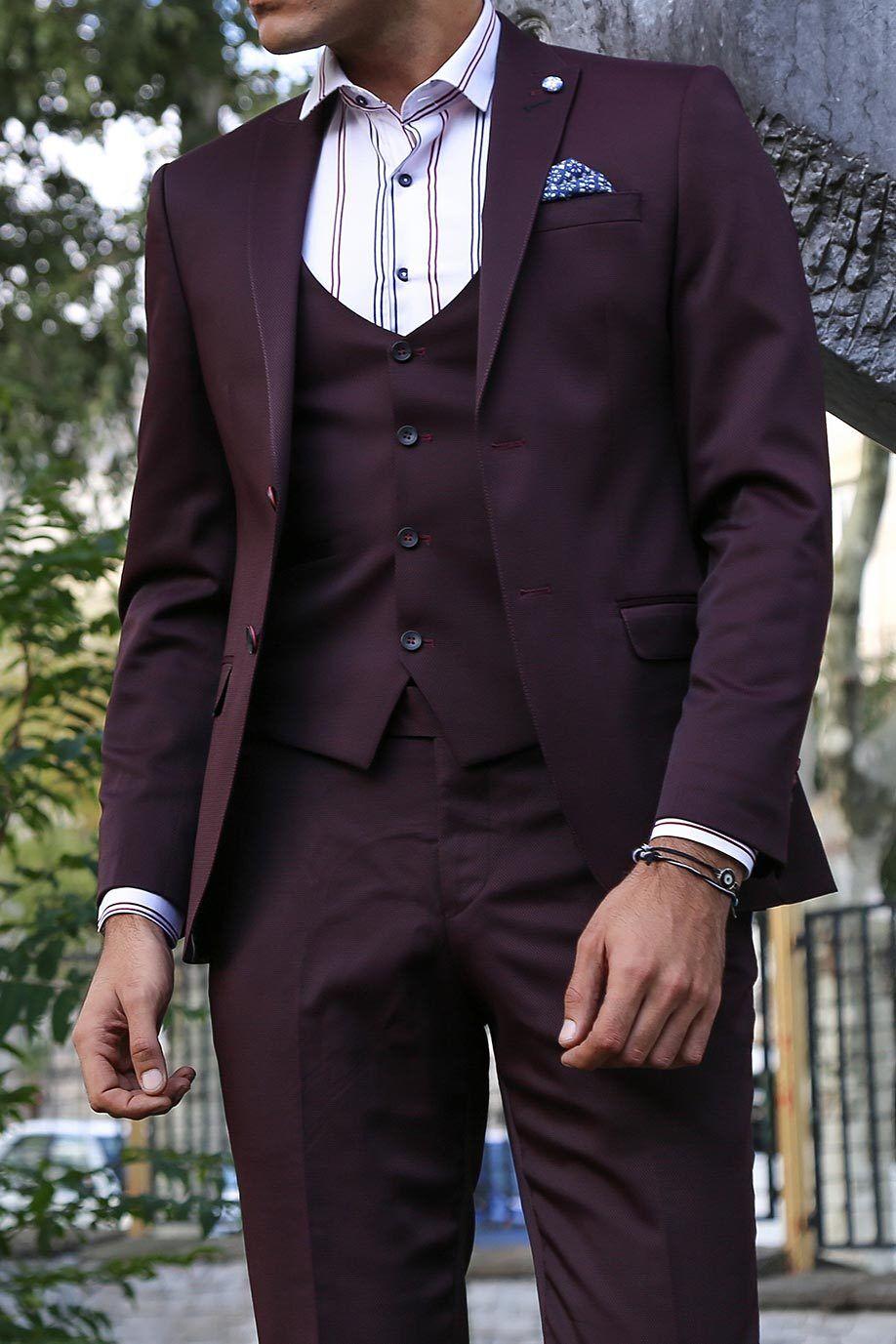 Men 3pc Vested Suit Turkey WESSI by J.VALINTIN European Slim Fit 118-80 Burgundy