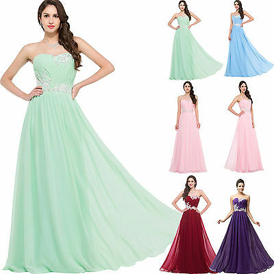 STOCK LONG Bridesmaid Homecoming Pageant Gown Party Evening Prom Maxi Dresses