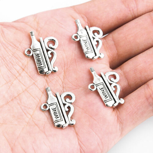 10pc Tibetan Silver Wine Bottle Charm Pendant Fit DIY Bracelet// Necklace Craft