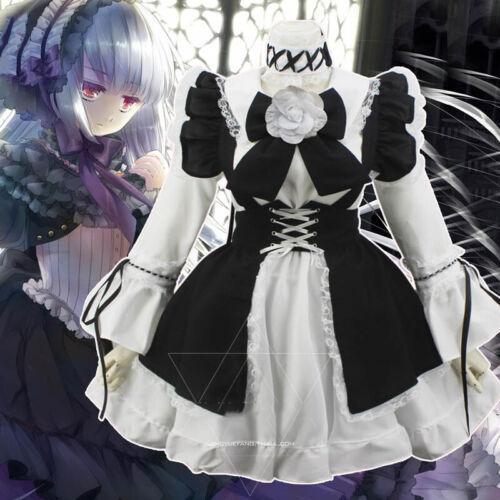 Lolita Womens Maid Dress Costume Apron Dress Gothic Cosplay Princess Dress Suits