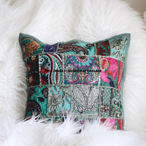 "Indian Handmade Khambodia Patchwork Cushion Cover Decor Sofa Pillow Case 16/"""