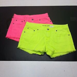 Big Star Women's Juniors Cutoff NEON Jean Shorts PINK-BLUE ...