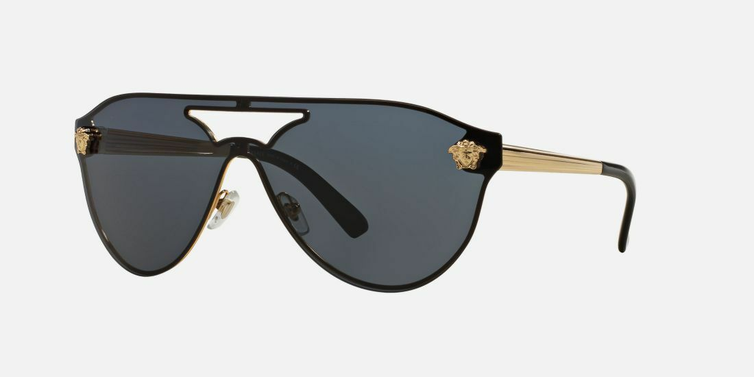 HOT NEW Authentic VERSACE Aviator Medusa Gold Black Sunglasses VE 2161 1002/87