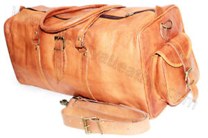 Carry-On-Duffle-Weekend-Travel-Overnight-Gym-Bag-Holdall-Luggage-Genuine-Leather