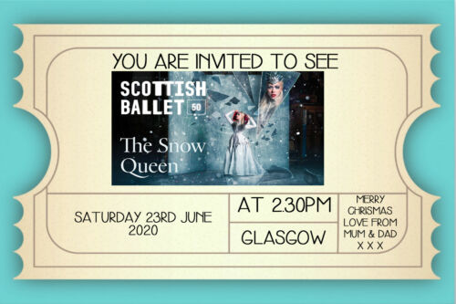 Novelty Ticket Invite inc Envelopes Personalised The Snopw Queen Ballet Mock