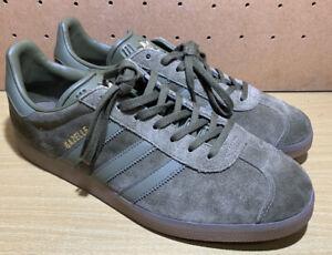 adidas-Originals-GAZELLE-Cargo-OLIVE-Green-Suede-GOLD-GUM-Brown-10-Shoes-BB5265
