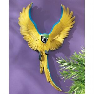 Phineas-The-Flapping-Macaw-Bird-Design-Toscano-Tropical-Wall-Sculpture