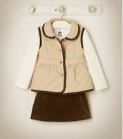 Janie & Jack English Rider 5 6 Tan Quilted Vest & Corduroy Skirt Set Outfit