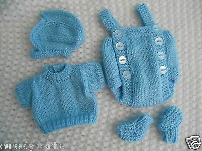 "Doll Clothes Blue Vintage  Style knitted set for baby 11""  fit Am. Character 12"