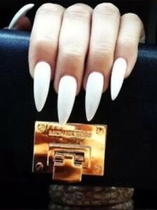Image Is Loading Set Of Painted White Long Glossy Stiletto Nails