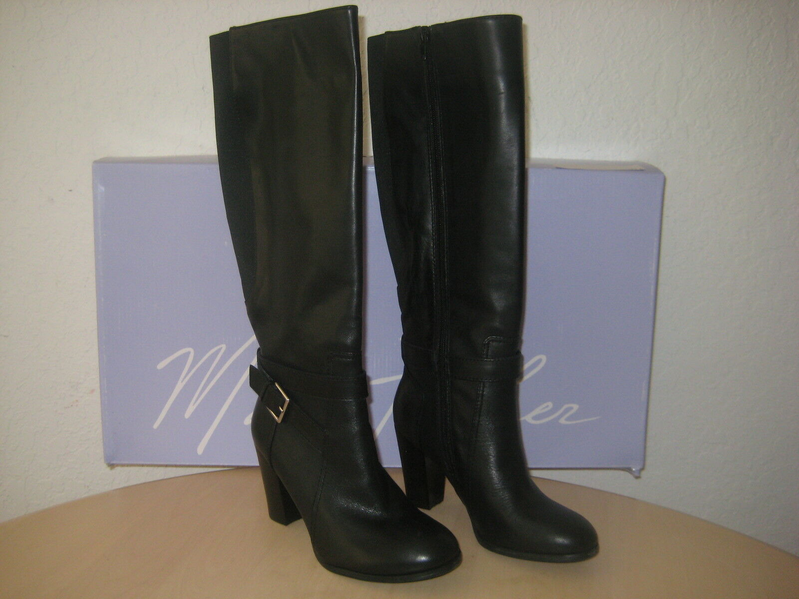 Marc Fisher shoes Size 5.5 M Womens New Kessler Black Leather Knee High Boots