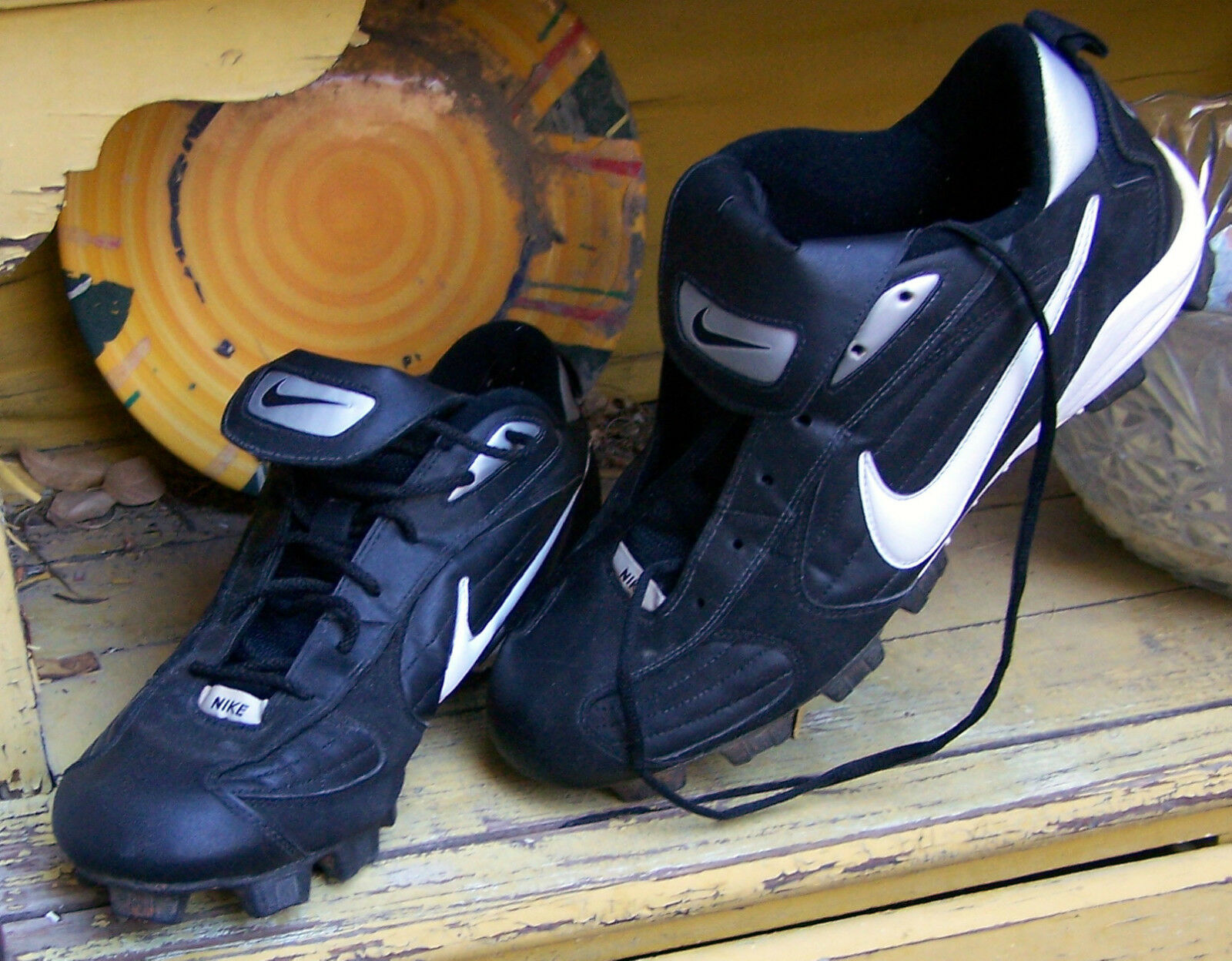 NIKE MENS RUBBER CLEAT Sz 12 athletic shoes lace-up pre-owned EC black  Wild casual shoes