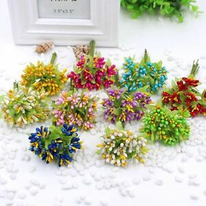 Artificial Wrist Flower Bouquet Stamen Party Wedding Millinery Decor Supplies