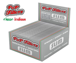 RIZLA-KING-SIZE-SLIM-CIGARETTE-SMOKING-PAPERS-POP-FILTERS-SILVER-ROLLING-PAPERS