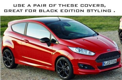 FIESTA MK7 08-17 GLOSS BLACK PAINTED LEFT /& RIGHT DOOR WING MIRRORS COVERS CAPS