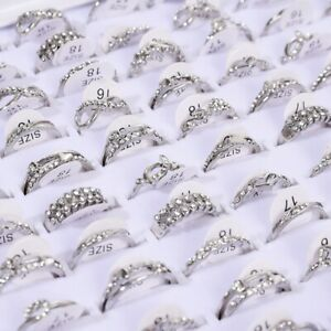 50-Pcs-Wholesale-Mixed-Lots-Jewelry-Sliver-Resale-Zirconia-Stainless-Steel-Rings