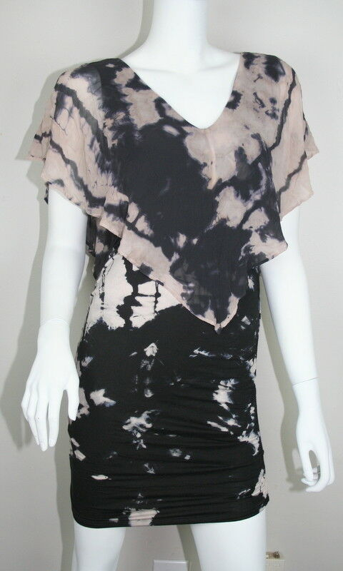 Gypsy 05 schwarz Ivory Tie Dye Sheer Overlay Ruched Body Con Dress M 8 10