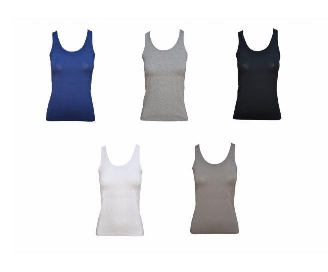 Tris Muskelshirt Trägershirt Frau breite Schulter Jadea Stretch-Baumwolle art.