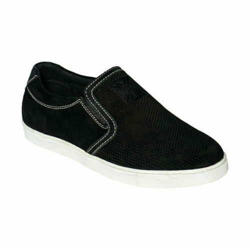 WEST WEST WEST COAST CHOPPERS OUTLAW in Pelle Scamosciata Slip-On Scarpe-Nero - 100% ORIGINALE 67331d
