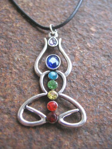 Yoga Meditación arco iris chakra collar cadena señora cadena cuero señora pedrería
