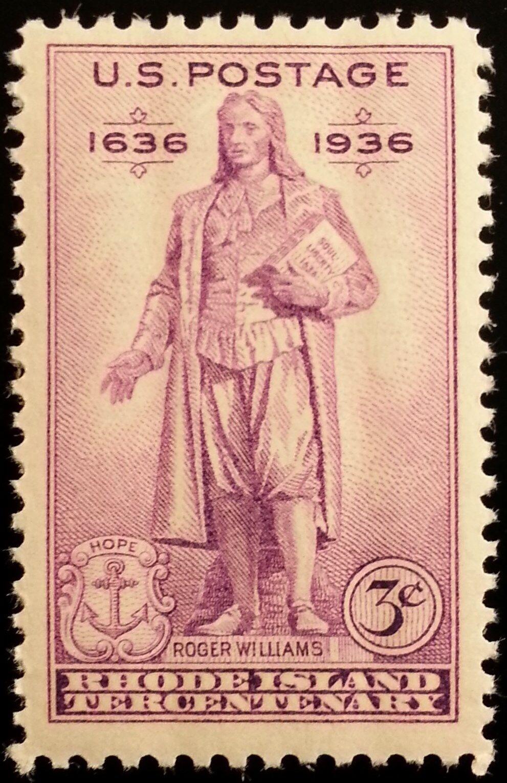 1936 3c Rhode Island Settlement, Roger Williams, Statue